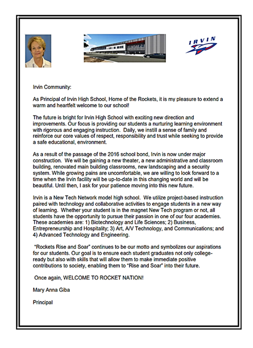 Welcome Message from the Principal 2019-2020