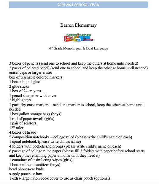 School Supply Lists 2020-2021 / 4th Grade