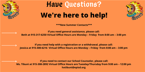 New Summer Contacts and Hours