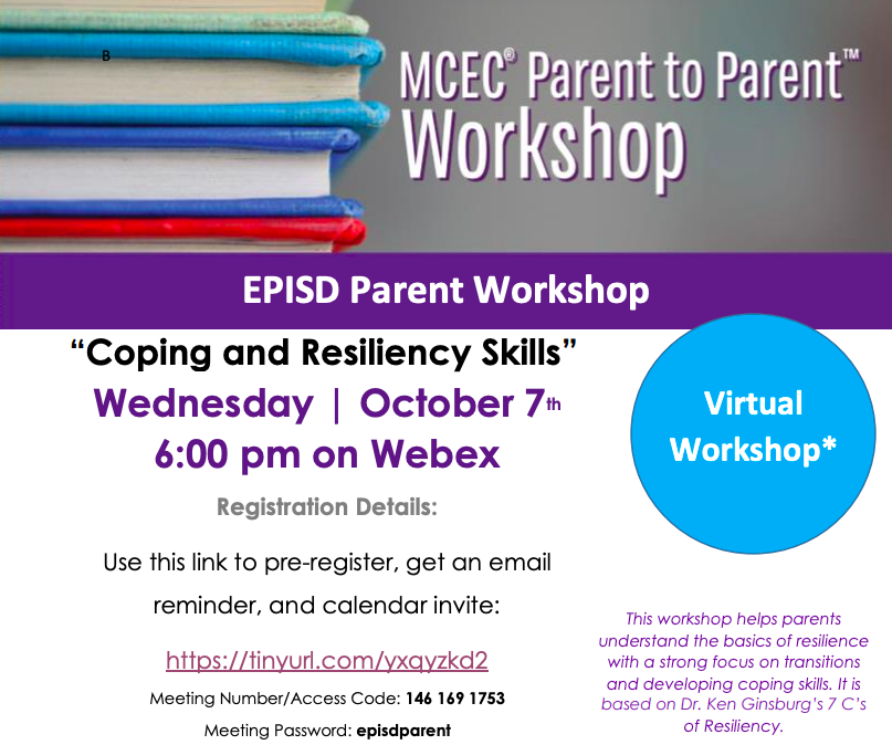 MCEC Parent 2 Parent flyer on Coping and Resiliency.