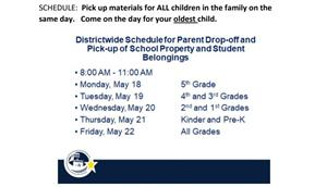 "Schedule and Map for ""Parent Drop-off and Pick-up of School Property and Student Belongings""."
