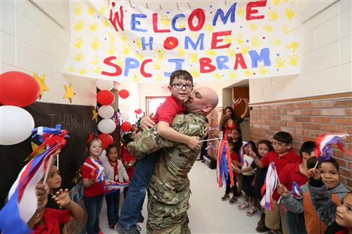 Soldier returning from deployment surprises son at Stanton Elementary