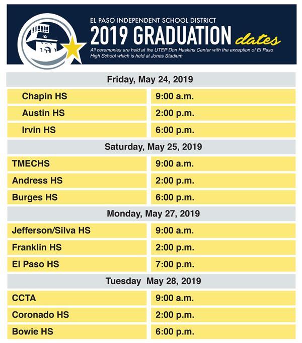 EPISD announces 2019 graduation dates