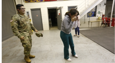 Returning soldier surprises sister at CCTE