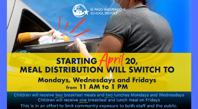 EPISD changes meal distribution days to Mondays, Wednesdays and Fridays to limit contact during COVID-19 pandemic