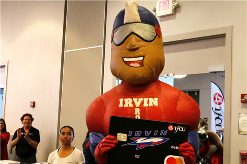 TFCU High School Spirit Debit Card launch Irvin