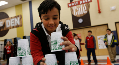 Magoffin students join cup stacking world-record attempt