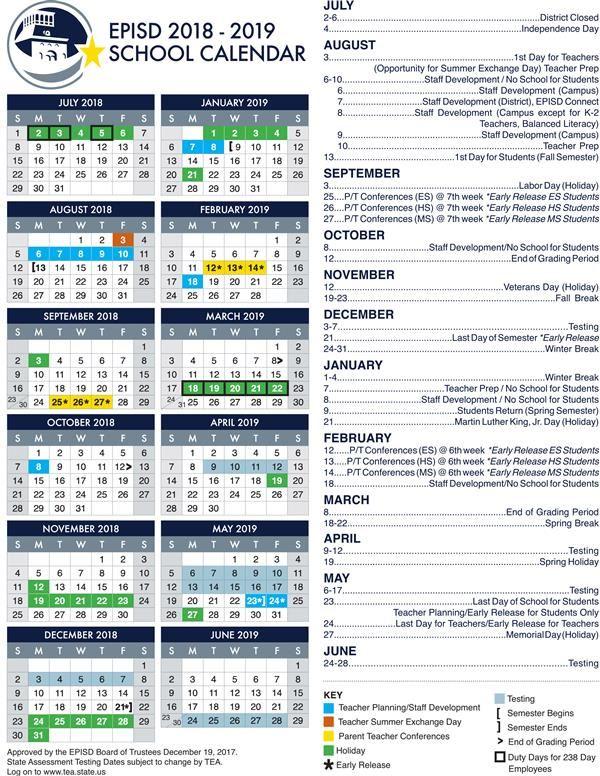 Episd Instructional Calendar Home