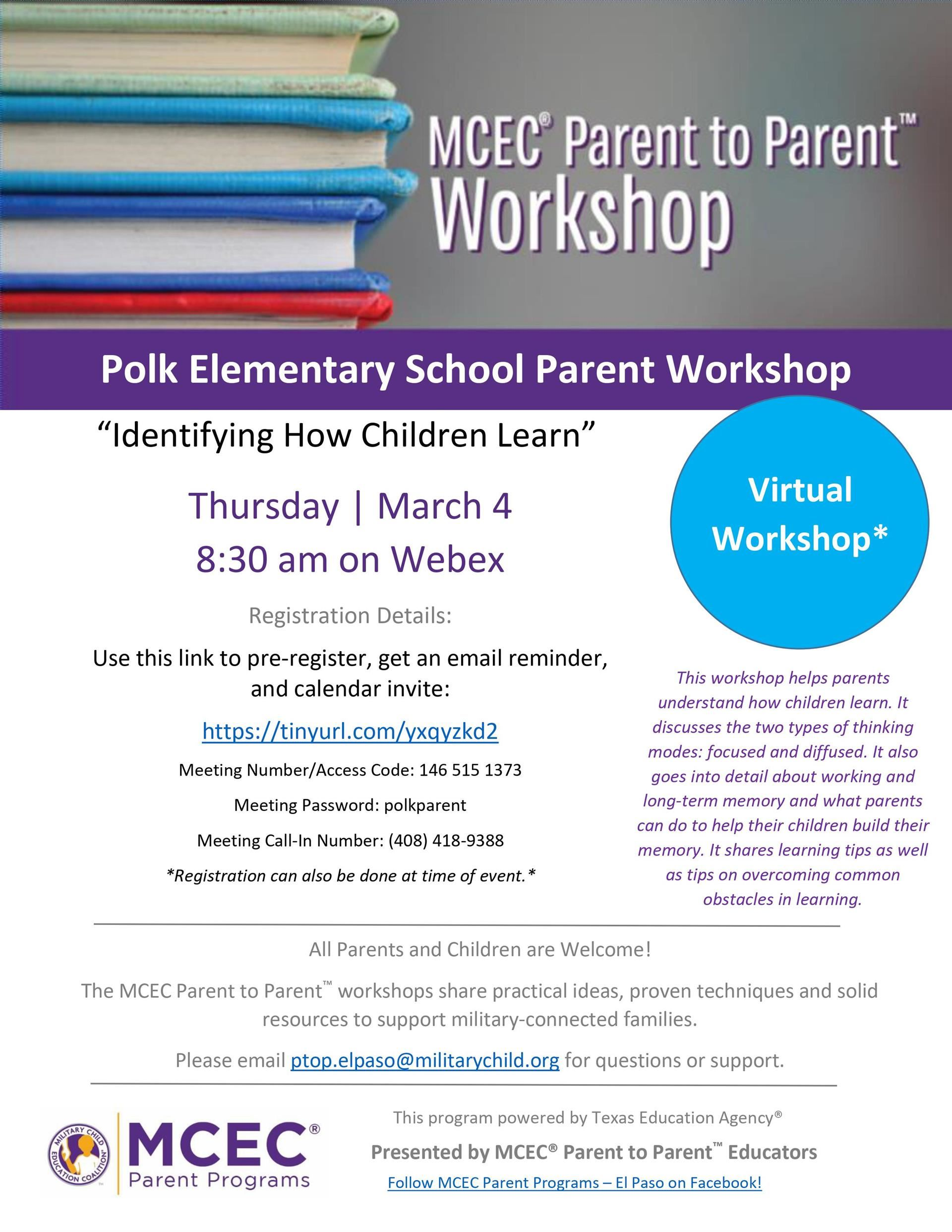 "Parent to Parent Workshop ""Identifying How Children Learn"""