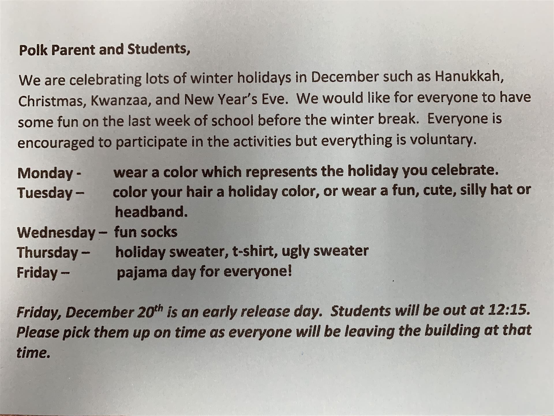 Winter Holidays calendar