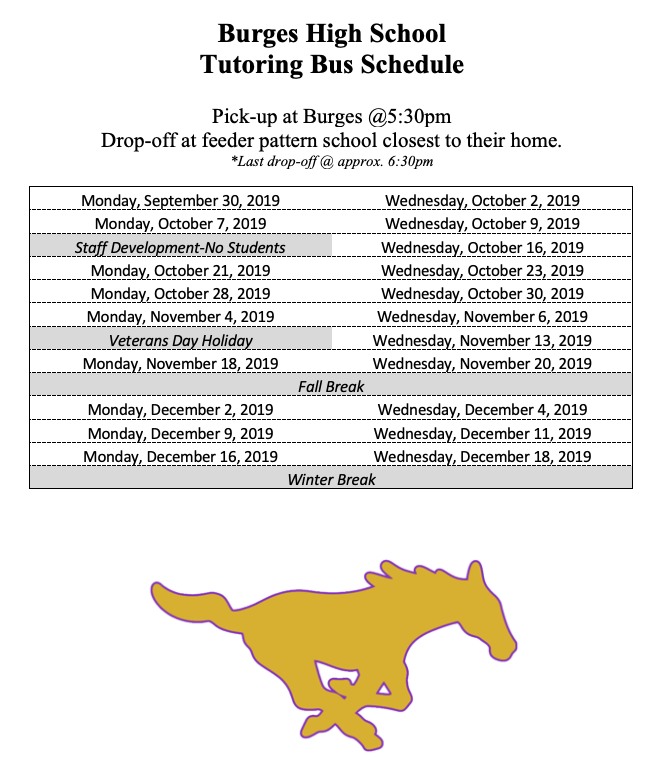 Tutoring Bus Schedule
