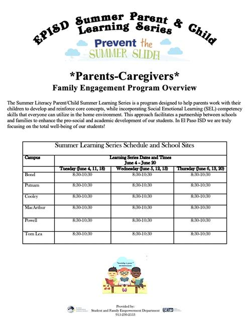 Summer Literacy Parent/Child Learning Series