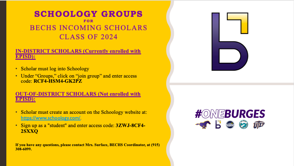 BECHS Incoming Freshmen-Schoology Groups