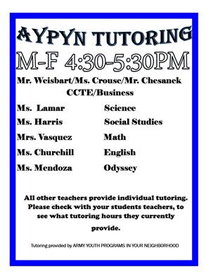 Tutoring List 1