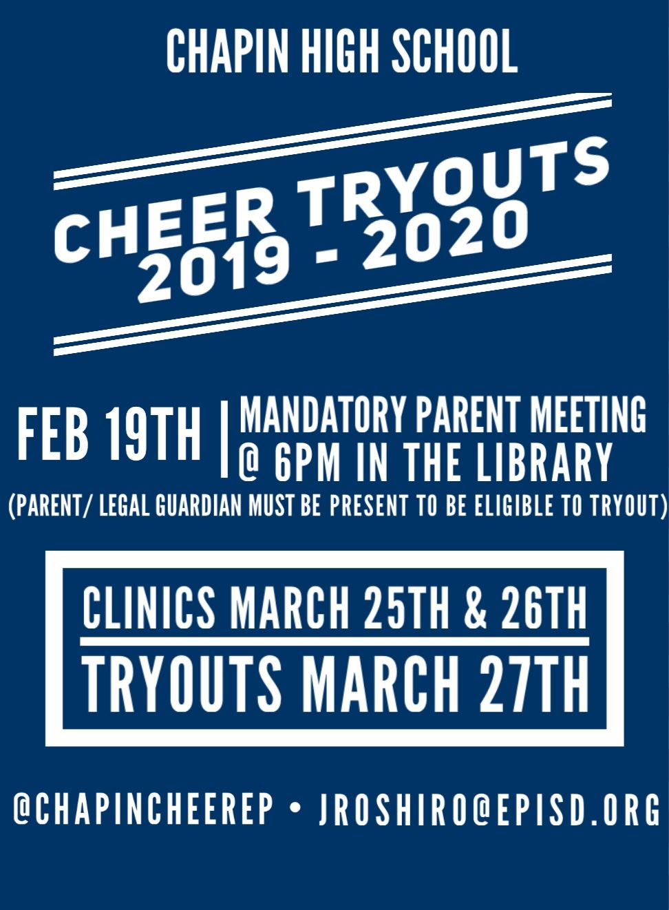 Cheer Tryouts in March