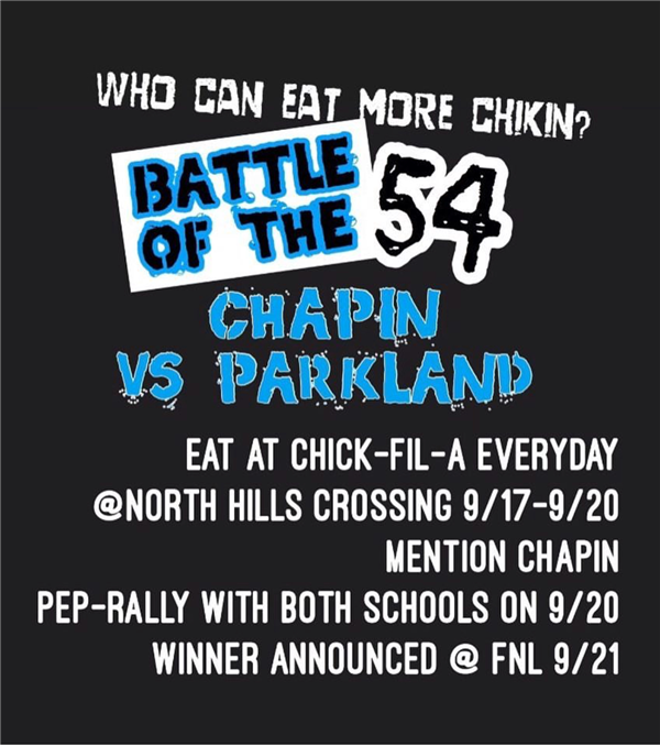 "Still time to ""Eat More Chicken"" in Chapin/Parkland School Promotional"