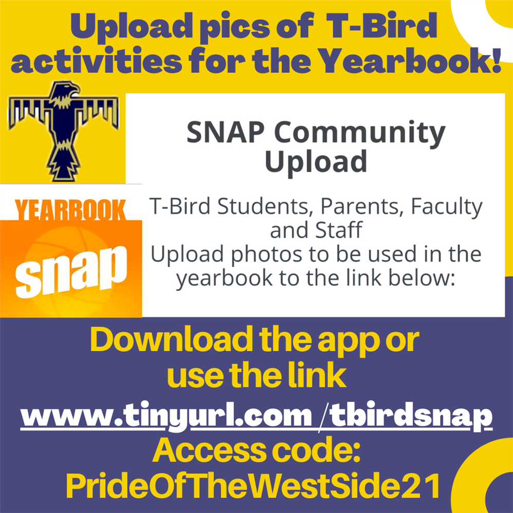Send T-Bird Activity Pics to our Yearbook Staff