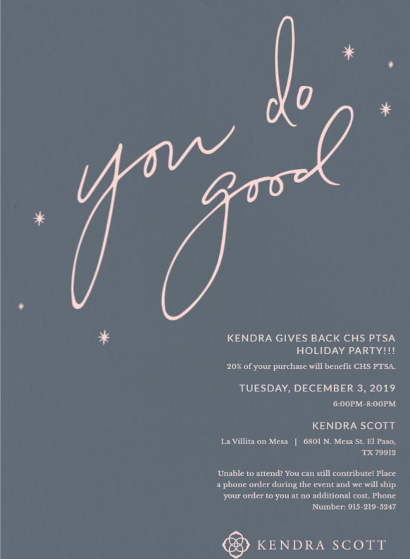 Kendra Scott Gives Back! PTSA Holiday Party