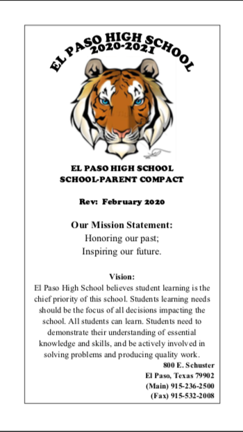 El Paso High School 2020-2021 School/Parent Compact