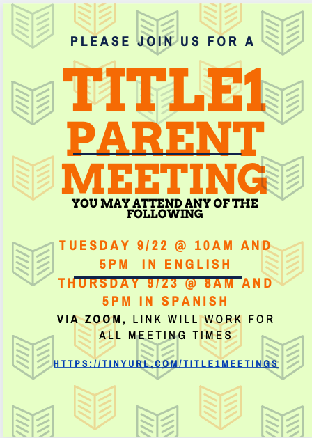 TItle1Parent Meetings- Please join us!