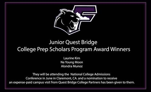 Junior Quest Bridge Winners