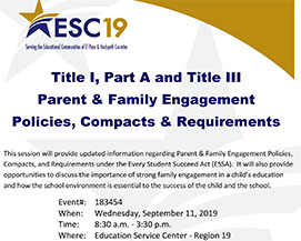 Title I, Part A and Title III Parent & Family Engagement Policies, Compacts & Requirements