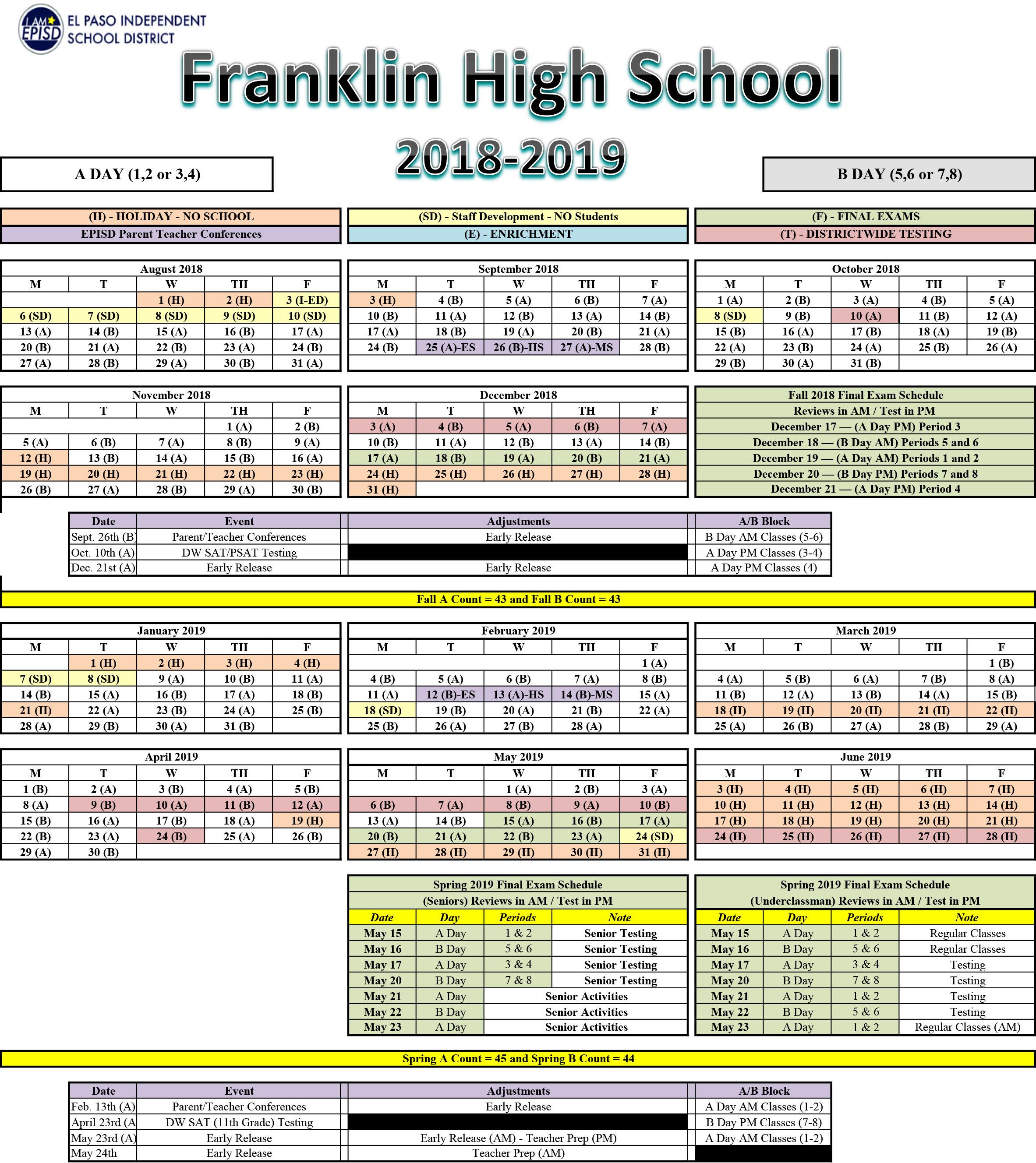Franklin High School Calendar