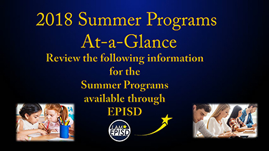 2018 Summer Programs  At-a-Glance