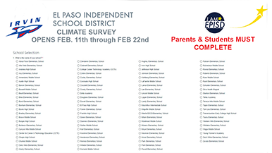 EPISD  2019 School Climate Survey