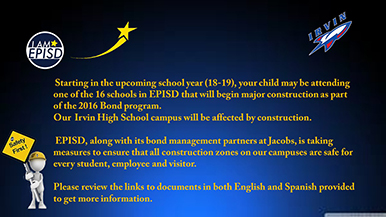 Parent Safety Notice – 2016 Bond Construction Projects