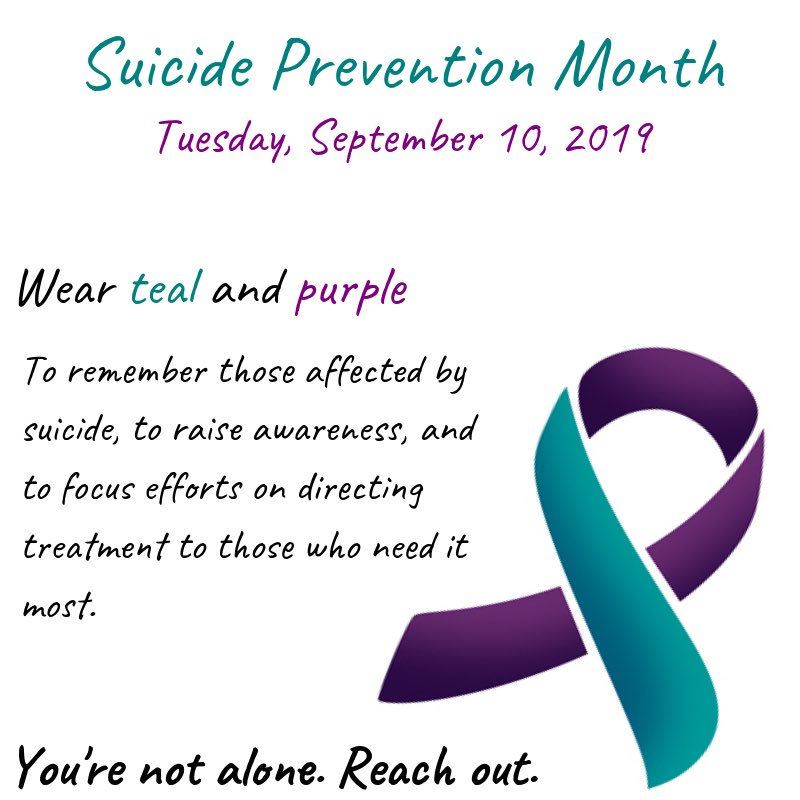 Hey foxes! Wear Teal and Purple for Suicide Prevention