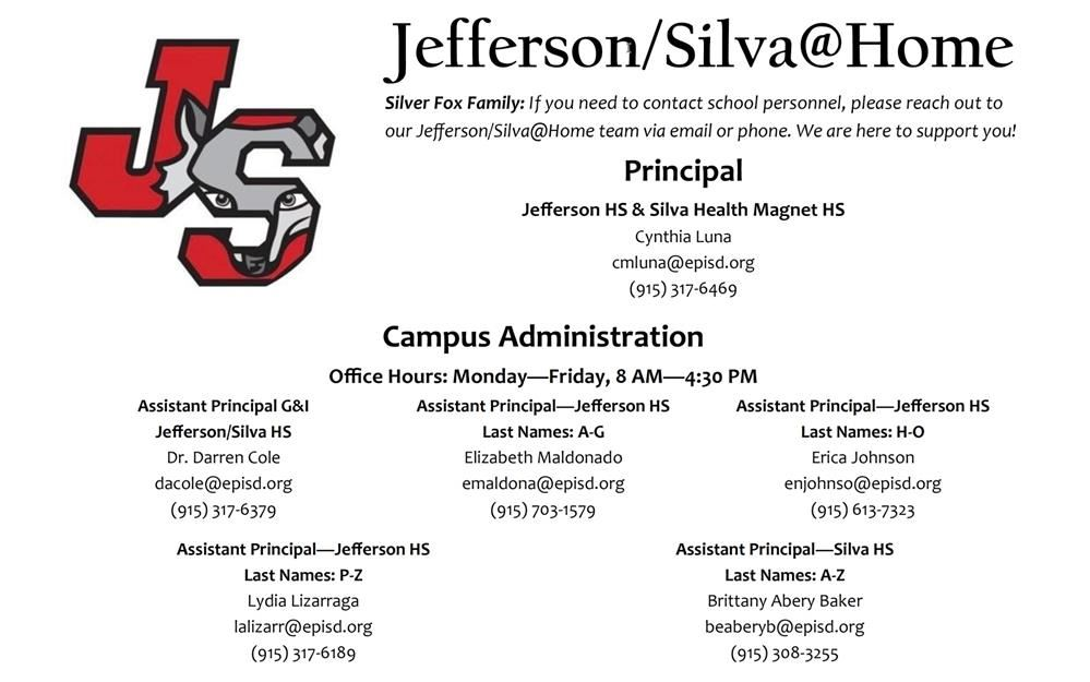 Jefferson/Silva@Home Contact Information