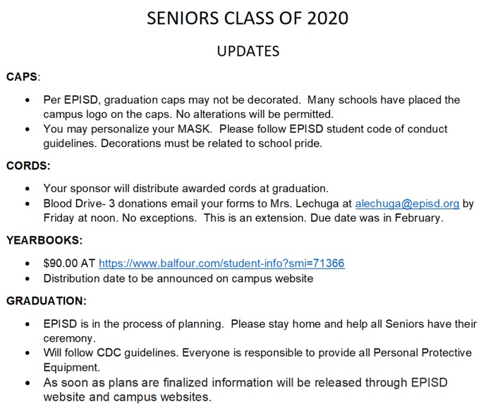 UPDATE: Senior Class of 2020
