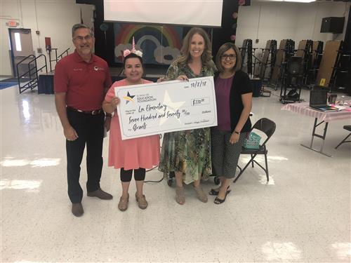 Lee Elementary's Emma Balansay received a grant on Monday.